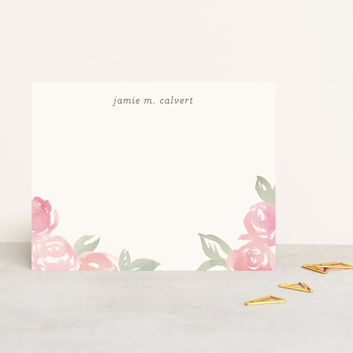 """Wild Roses"" - Floral & Botanical, Rustic Personalized Stationery in Carnation by Laura Condouris."
