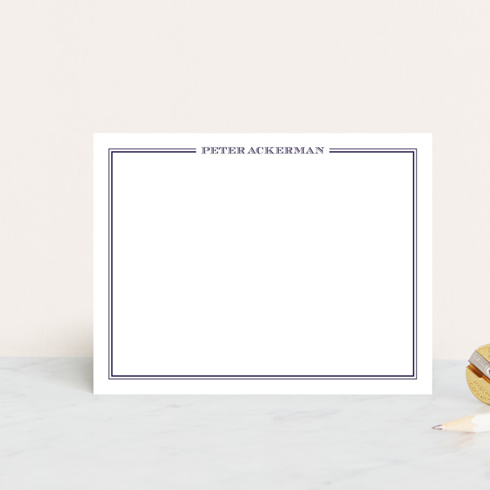"""gentleman"" - Simple, Traditional Personalized Stationery in Darknight Blue by The Social Type."