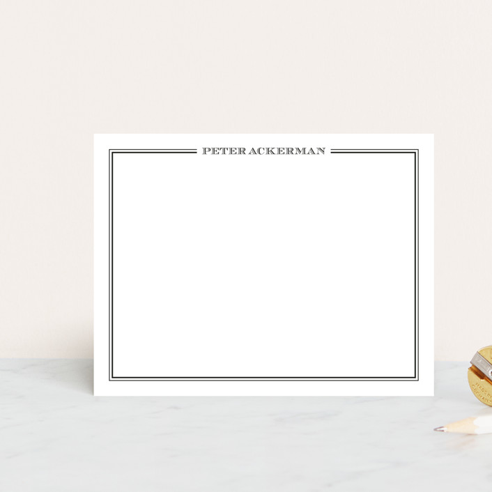 """""""gentleman"""" - Simple, Traditional Personalized Stationery in Darknight Blue by The Social Type."""