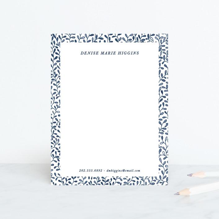 """Leaf by Leaf"" - Personalized Stationery in Cobalt by Gwen Bedat."