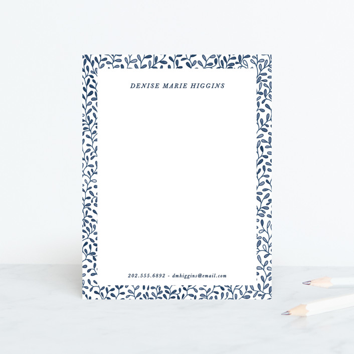 """Leaf by Leaf"" - Personalized Stationery in Cobalt by Gwen Bedat."