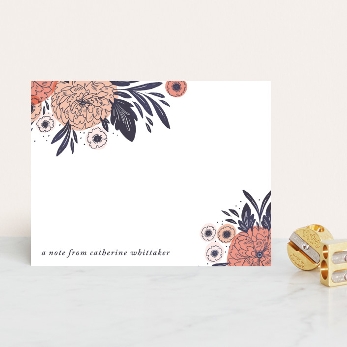 """Pretty Peony"" - Personalized Stationery in Peach by Paper Raven Co.."