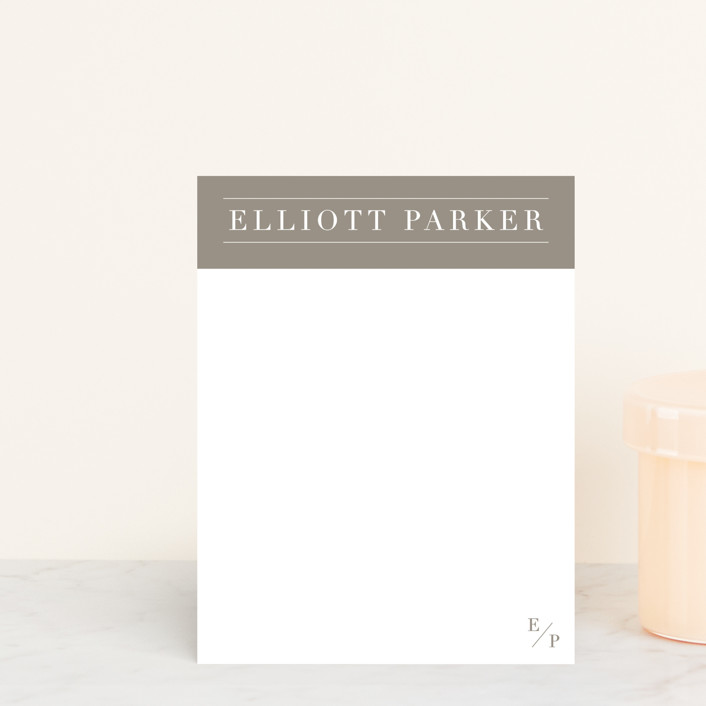 """""""Masculine Modern"""" - Modern Personalized Stationery in Iron by Julie Murray."""