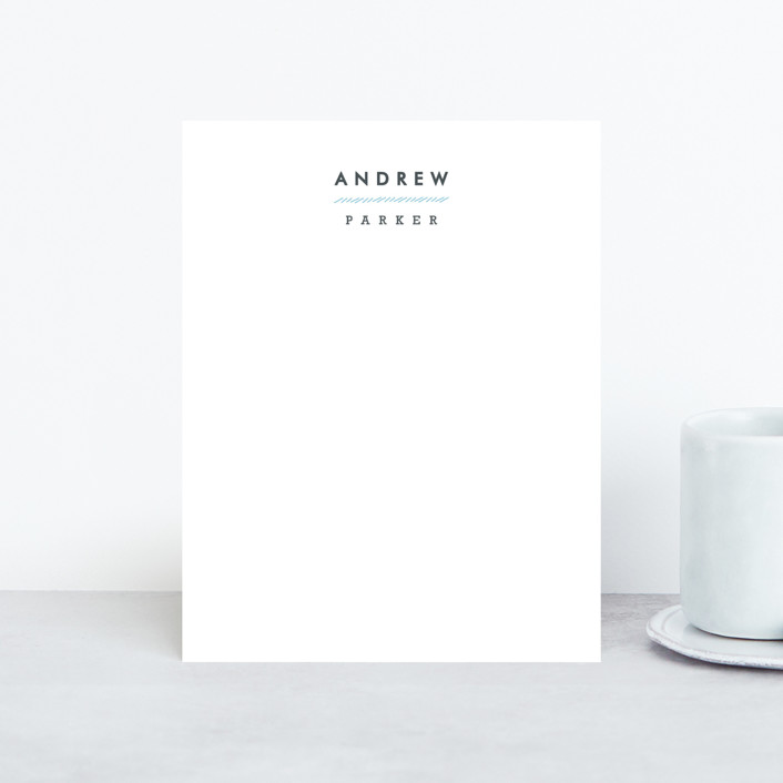 """""""Clean and Crisp"""" - Simple, Minimalist Personalized Stationery in Cerulean by Carolyn MacLaren."""