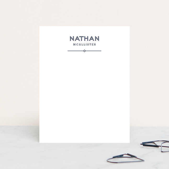 """""""Crisp Classic"""" - Simple, Minimalist Personalized Stationery in Navy by Alethea and Ruth."""