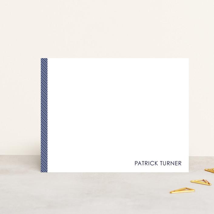 """Herringbone"" - Simple, Minimalist Personalized Stationery in Navy by Seth Caskey."
