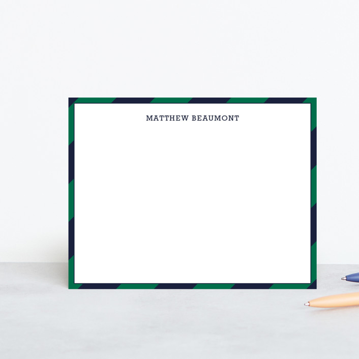 """Wide Stripe Nautical"" - Preppy, Modern Personalized Stationery in Emerald Green by Seth Caskey."