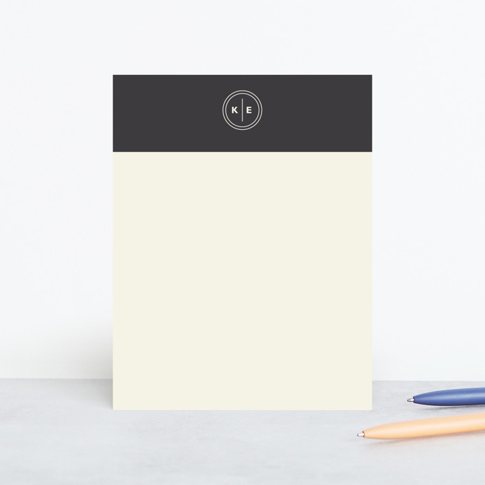 """Circle Circle Dot"" - Monogrammed, Simple Personalized Stationery in Charcoal by Olivia Raufman."