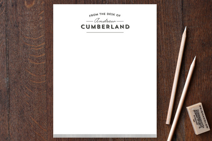 """He Means Business"" - Classical, Traditional Personalized Stationery in Ebony by Ann Gardner."