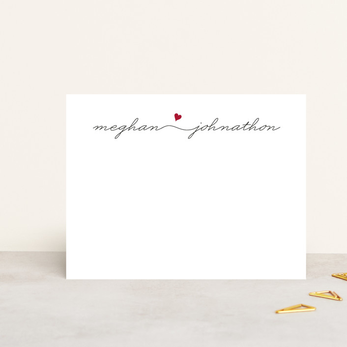 """Love Connection"" - Simple, Minimalist Personalized Stationery in Red Hot by Kim Dietrich Elam."