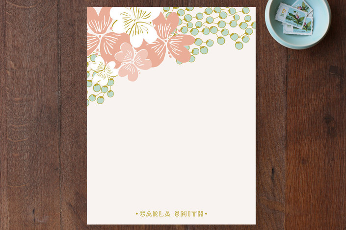 """French Deco Bouquet"" - Floral & Botanical Personalized Stationery in Punch by Phrosne Ras."