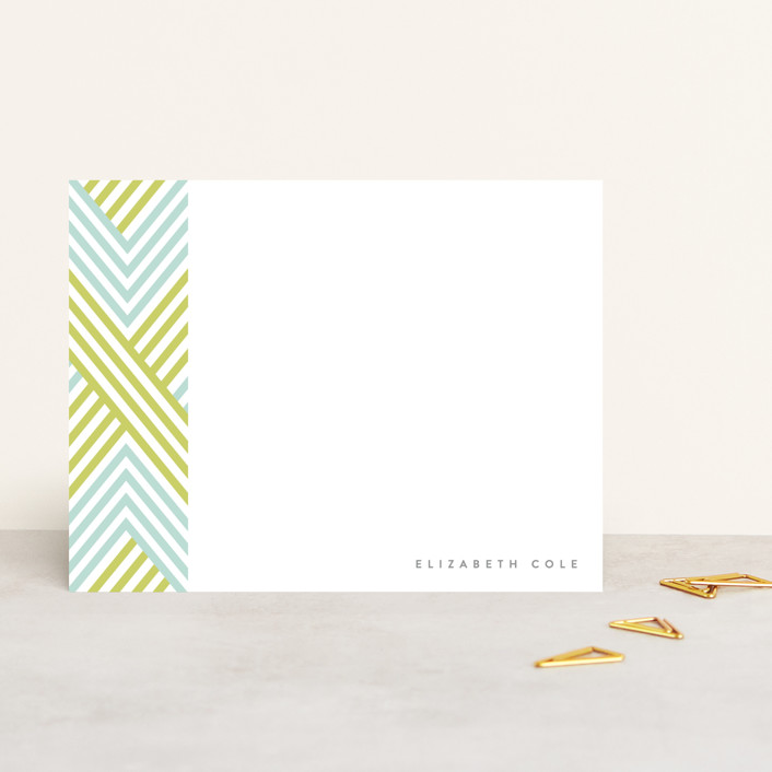 """""""Braided Chevron"""" - Modern, Preppy Personalized Stationery in Teal by Bourne Paper Co.."""