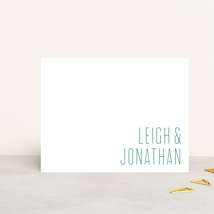 """""""Modern Couple"""" - Minimalist, Simple Personalized Stationery in Emerald by Ann Gardner."""