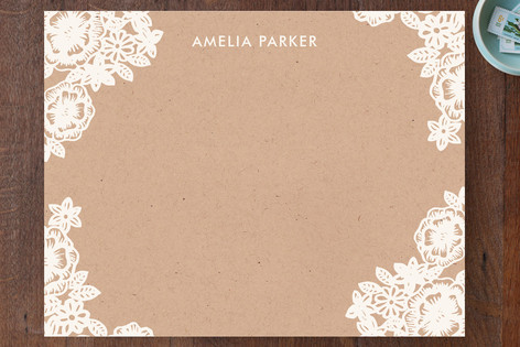 Lace and Kraft Personalized Stationery