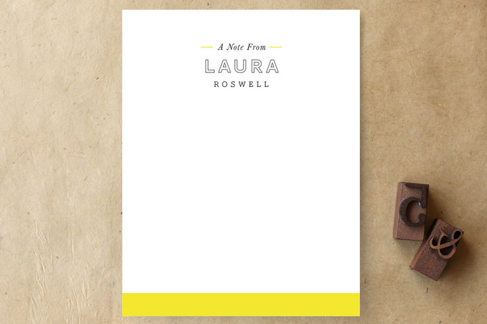 """""""Simply Bright"""" - Modern, Simple Personalized Stationery in Sunshine by Katie Wahn."""