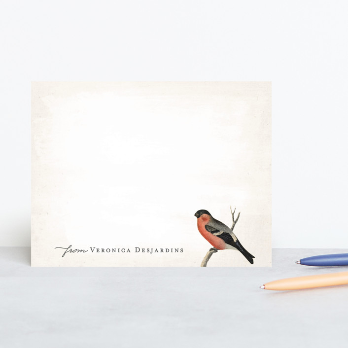 """Vintage Bird"" - Vintage, Traditional Personalized Stationery in Tomato by Hooray Creative."