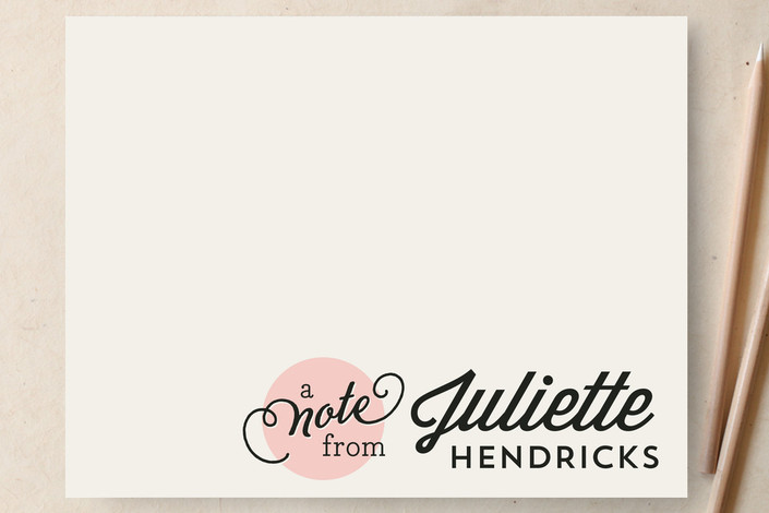"""Chic  Spot"" - Hand Drawn, Bold typographic Personalized Stationery in Blush by Jessica Williams."