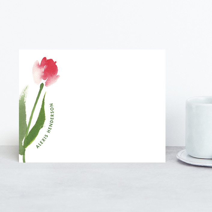 """A Tulip Just For You"" - Floral & Botanical Personalized Stationery in Leaf by Qing Ji."