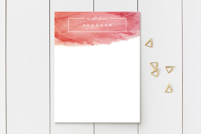 """A Watercolor Note"" - Modern Personalized Stationery in Watermelon by Lacie Cunningham."