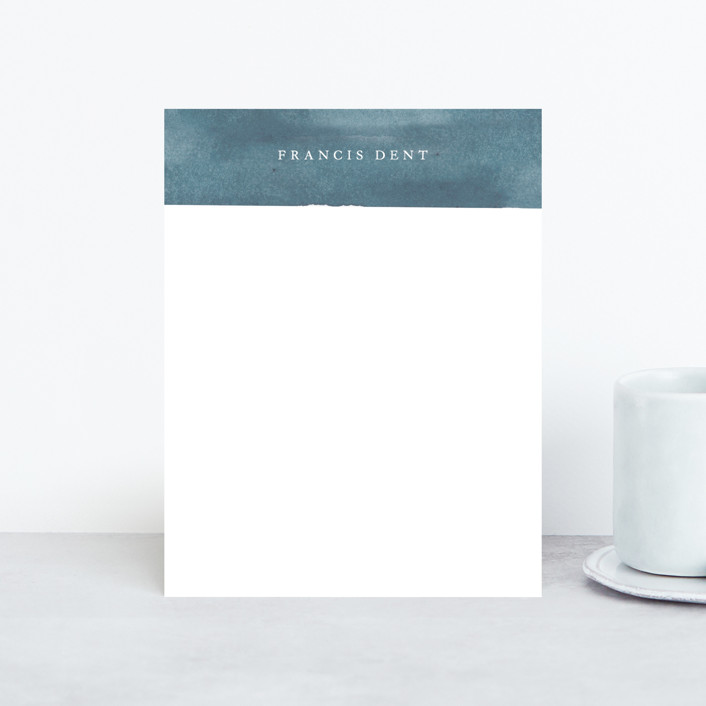 """Arthur"" - Modern Personalized Stationery in Azure by Rebecca Daublin."