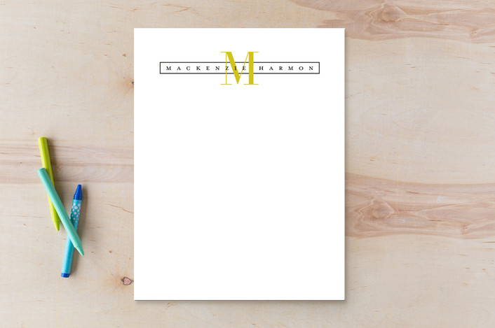 """Initialed"" - Monogrammed, Modern Personalized Stationery in Banana by Jessica Williams."