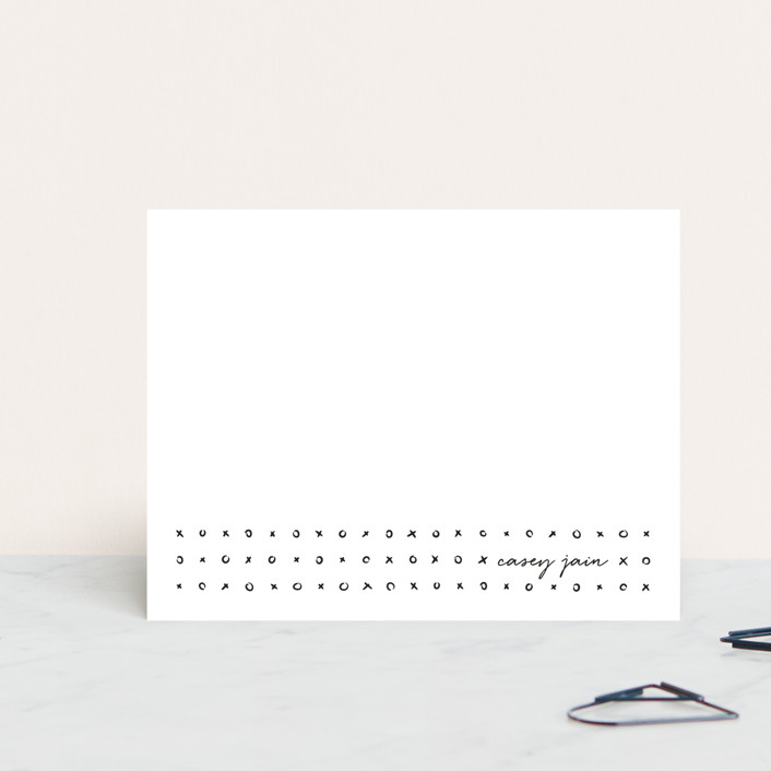 """""""Lots of Love"""" - Simple, Preppy Personalized Stationery in Noir by Paige Sipes."""