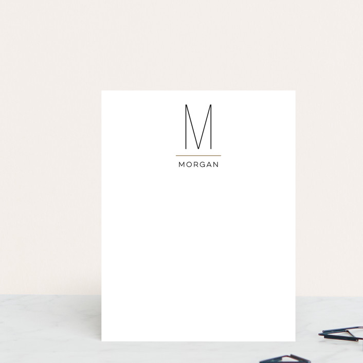 """MODERN MONOGRAM"" - Modern, Simple Personalized Stationery in Onyx by Christina Novak."