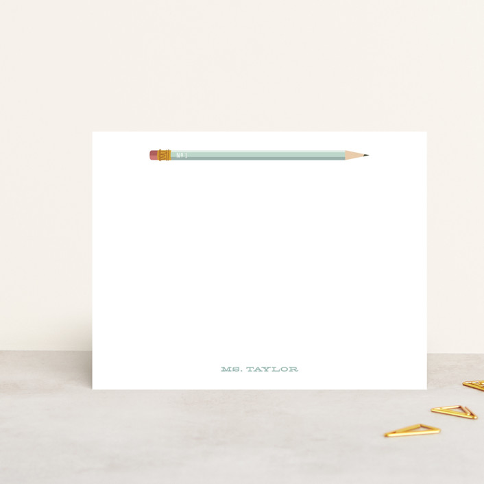 """Number 1"" - Vintage Personalized Stationery in Mint by Baumbirdy."