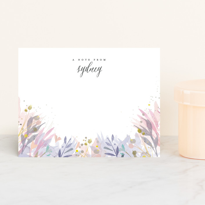 """""""Olivia"""" - Floral & Botanical Personalized Stationery in Lilac by Lori Wemple."""