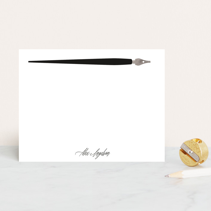 """Pen Pal"" - Simple Personalized Stationery in Ink by Baumbirdy."