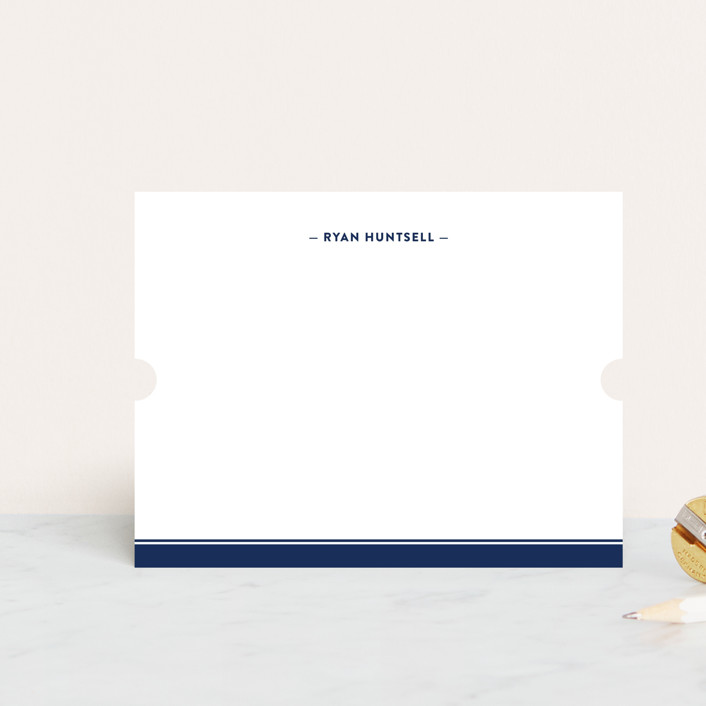 """Preppy Stripe"" - Traditional, Traditional Personalized Stationery in Navy by Ann Gardner."