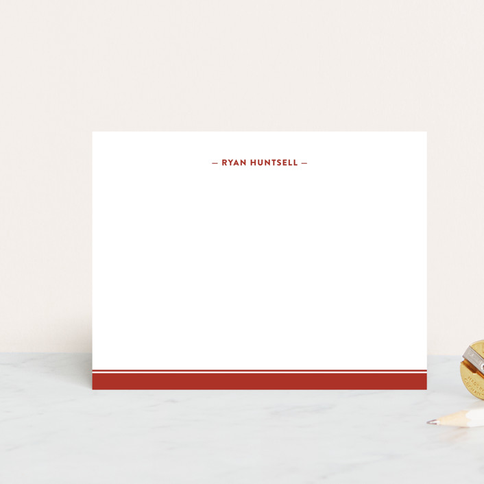 """""""Preppy Stripe"""" - Traditional, Traditional Personalized Stationery in Navy by Ann Gardner."""