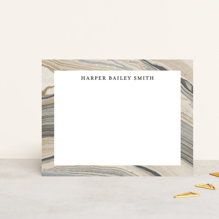 """Elegant Marble"" - Elegant, Classical Personalized Stationery in Sandstone by Liz Conley."