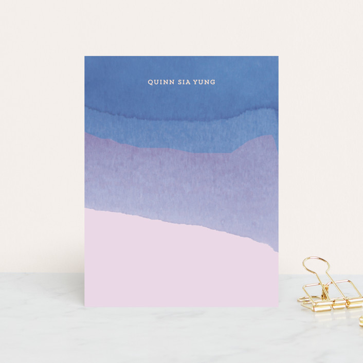 """""""Watercolor Dip"""" - Simple, Modern Personalized Stationery in Ocean by Baumbirdy."""