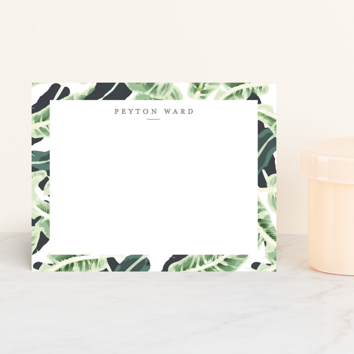 """Tropical Wishes"" - Floral & Botanical, Modern Personalized Stationery in Palm Green by Haley Warner."