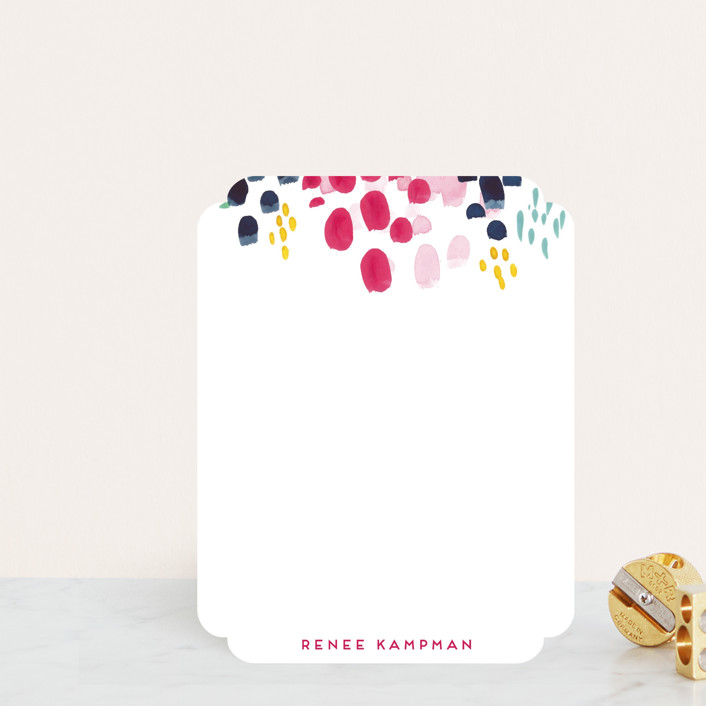 """Abstract Floral"" - Modern Personalized Stationery in Wild Strawberry by Holly Whitcomb."