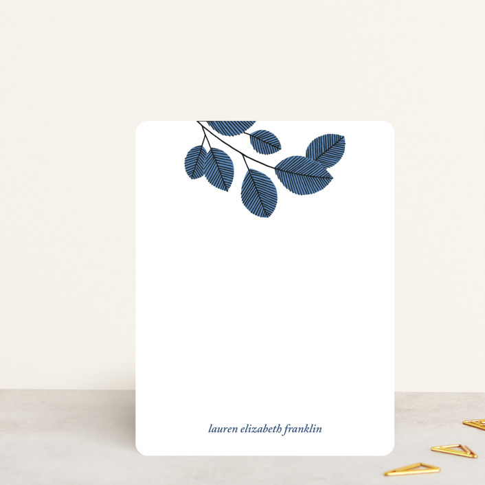 """Cool Branch"" - Personalized Stationery in Cornflower by Paper Raven Co.."