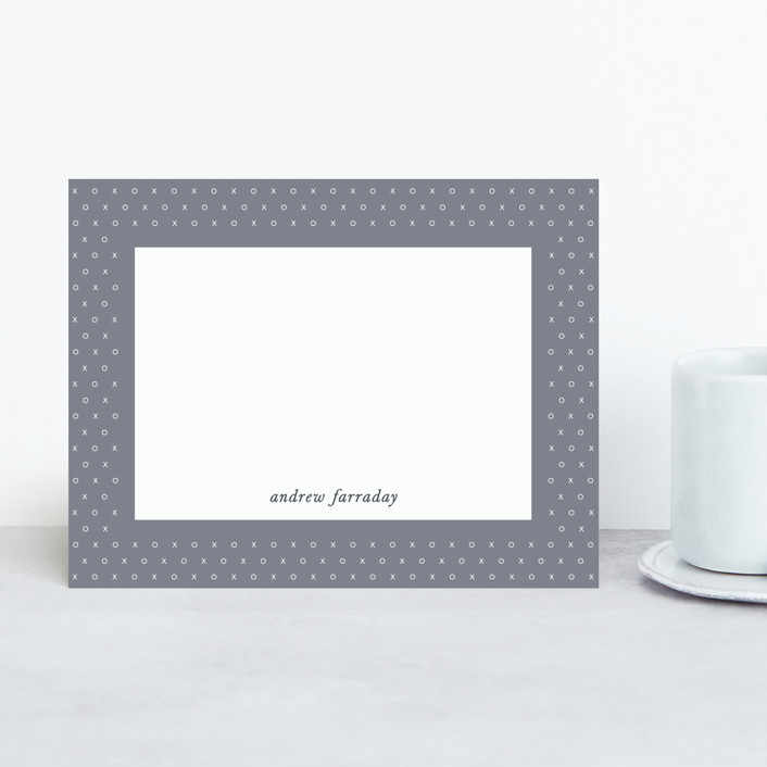 """XO"" - Personalized Stationery in Slate by Gwen Bedat."