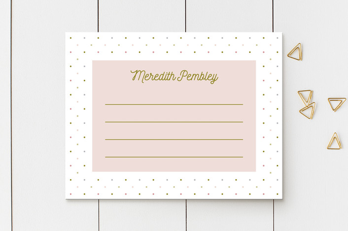 """""""Polka"""" - Personalized Stationery in Rose by Gwen Bedat."""