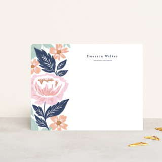 Peony Floral Vine Personalized Stationery
