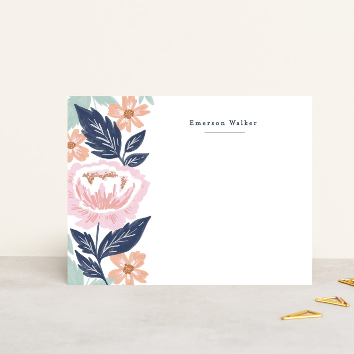 """Peony Floral Vine"" - Personalized Stationery in Navy by Alethea and Ruth."