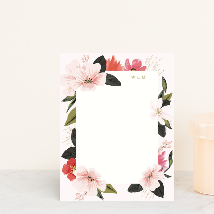 """Floral Note"" - Personalized Stationery in Blush by Susan Moyal."