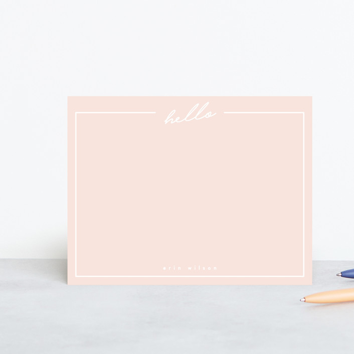 """""""Hello"""" - Preppy Personalized Stationery in Blush by Erin L. Wilson."""