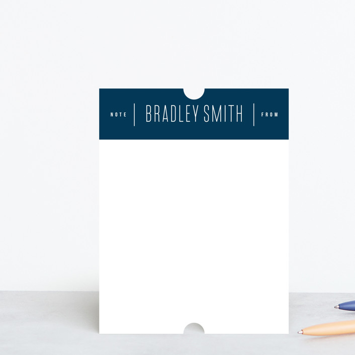 """""""Simple Note From"""" - Modern, Preppy Personalized Stationery in Pool by Ink and Letter."""