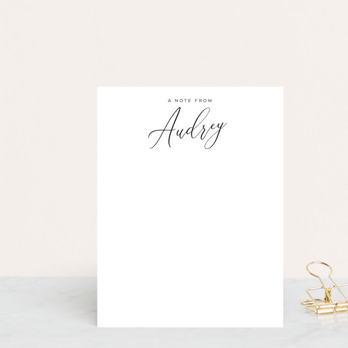 """Sophisticate"" - Preppy Personalized Stationery in Ebony by Nicoletta Savod."