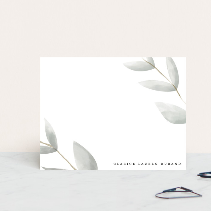 """modern leaf"" - Personalized Stationery in Spring by Maja Cunningham."