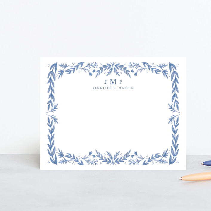 """""""Framed in Floral"""" - Whimsical & Funny Personalized Stationery in Delft by Calluna Fine Paper."""