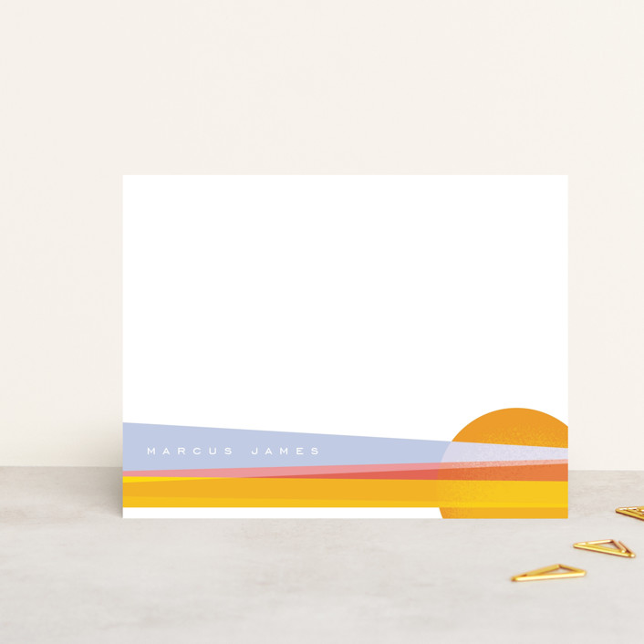 """Desert Sunset"" - Modern, Whimsical & Funny Personalized Stationery in Desert by Erin German Design."