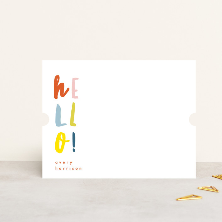 """""""Stacked Hello"""" - Modern Personalized Stationery in Watermelon by Keen Peachy."""