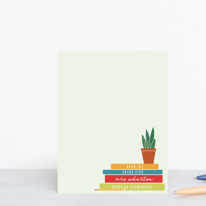 """""""A Note From Teacher"""" - Preppy Personalized Stationery in Bright by Heather Cairl."""
